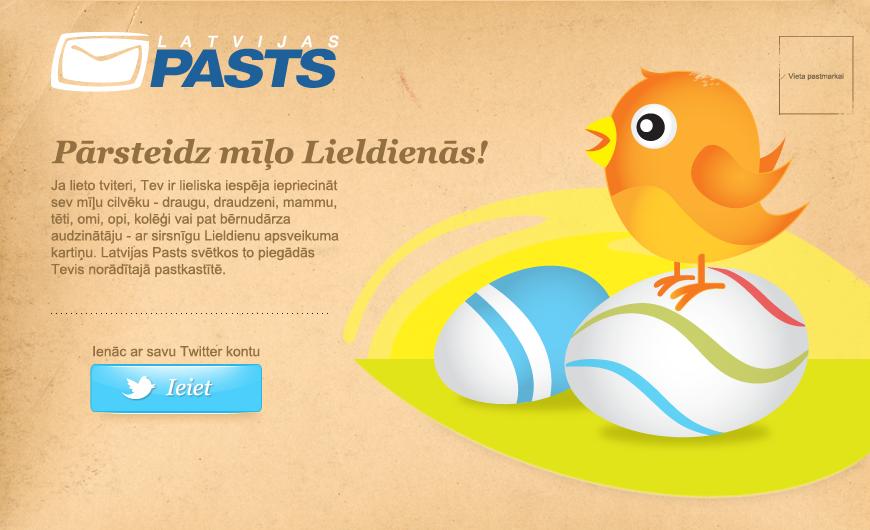 Latvijas pasts twitter lietotājiem piedāvā nosūtīt bezmaksas apsveikuma kartiņu