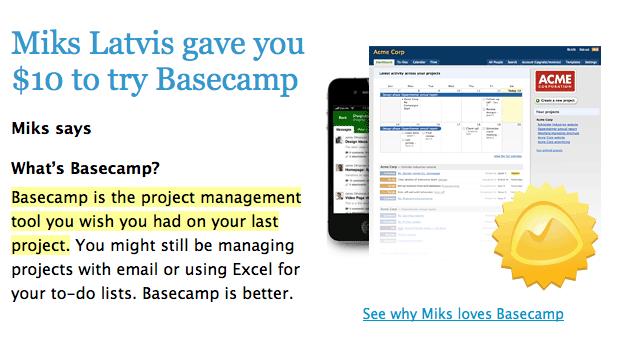 pamēģini Basecamp