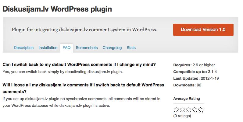 diskusijām.lv WordPress plugin