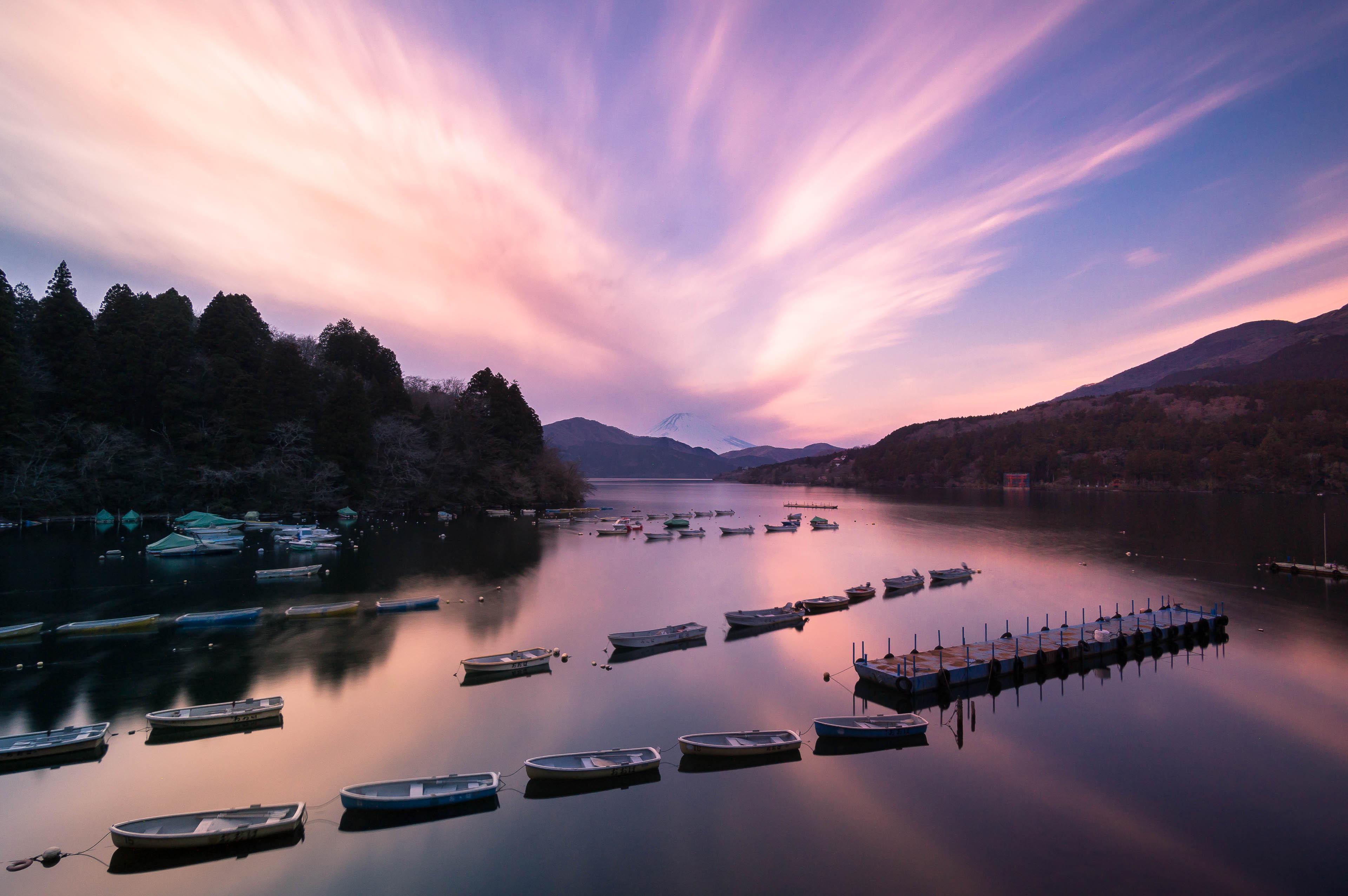 Vakars Hakonē pie Ashinoko ezera